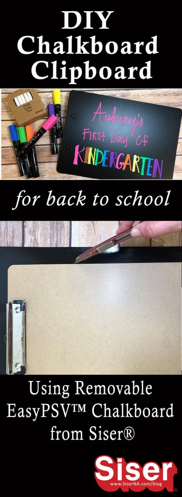 This quick craft is a first day of school life saver! All you need is an old clipboard and EasyPSV Removable Chalkboard to create a cute sign that you can write on over and over again. See all the steps to this DIY chalkboard clipboard on the Siser Blog!