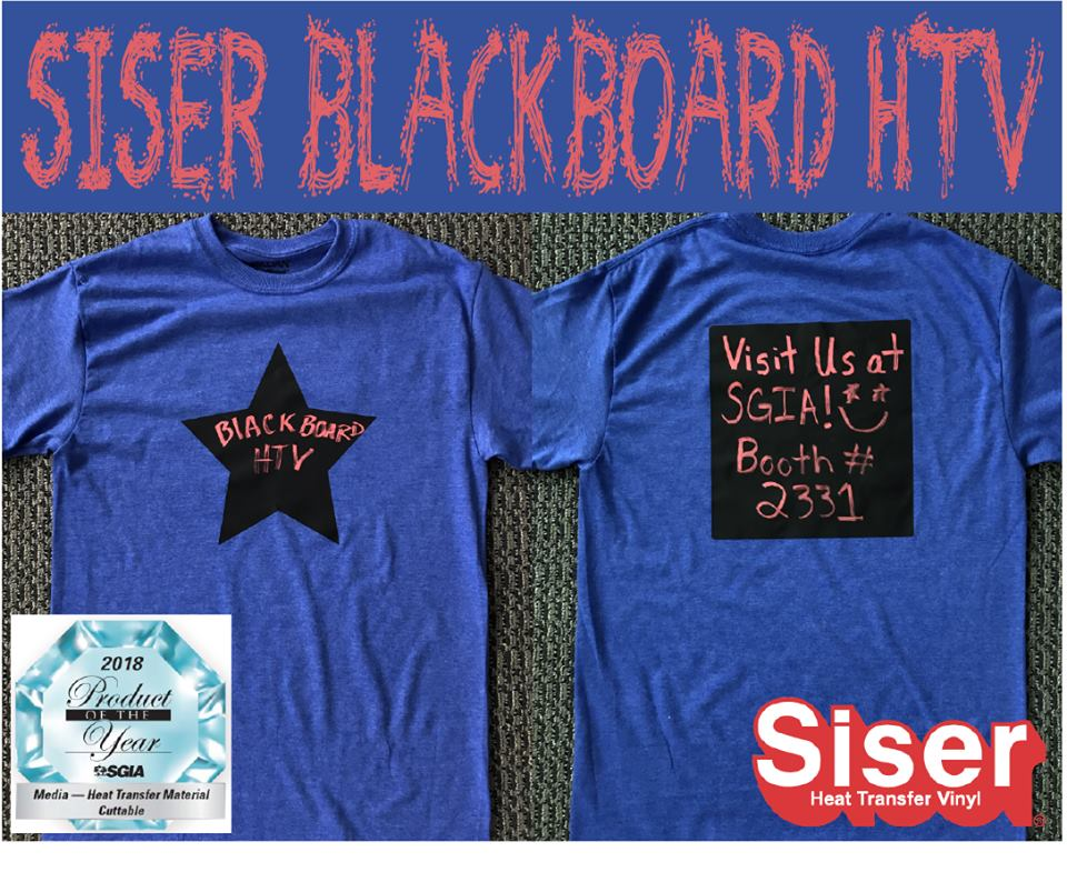 Blackboard heat transfer vinyl by Siser® is the SGIA Product of the Year Award for Cutabble Heat Transfer Materials