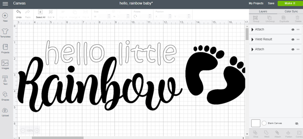 Hello little, rainbow cut file in Cricut Design Space