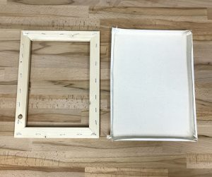 Cotton canvas separated from wooden frame