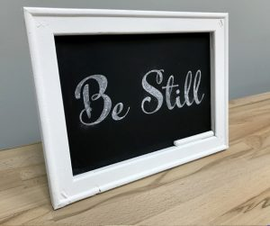 Reverse canvas chalkboard with chalk lettering