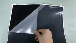 Peel the carrier from BlackBoard when hot or cold