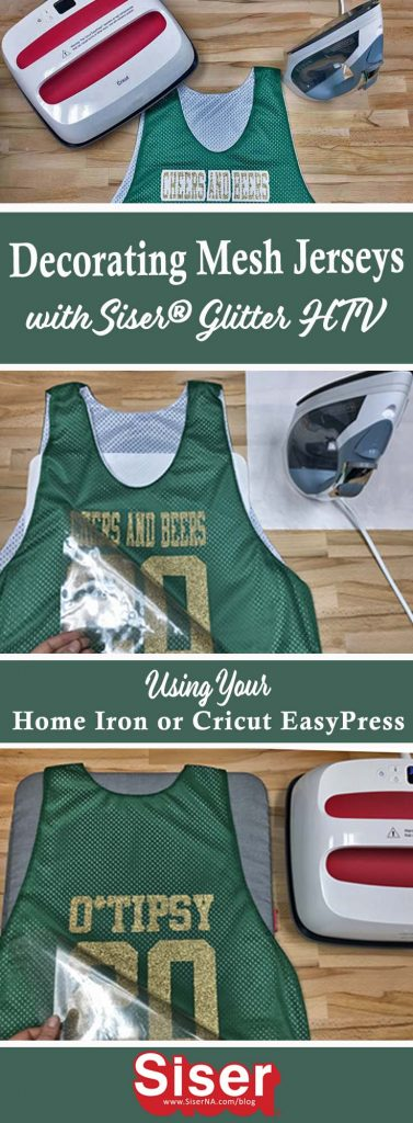 Use your home iron or Cricut EasyPress to decorate polyester mesh jerseys for St. Patty's or March Madness. Get Siser's recommended time, temperature, and pressure for best results in this post!