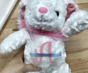 StripFlock Pro HTV taped to bunny stuffed animal