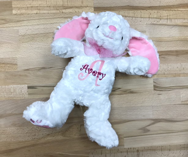 Custom bunny stuffed animal with StripFlock Pro iron on vinyl