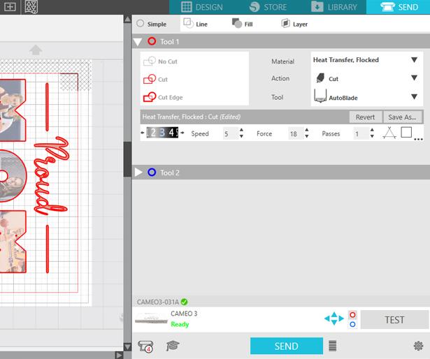 EasySubli heat transfer vinyl cut settings in Silhouette Studio