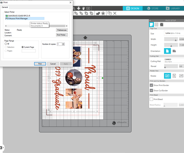 send image to printer from Silhouette Studio