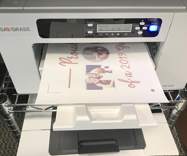 The Sawgrass SG400 printing Siser EasySubli Inks by Sawgrass on EasySubli HTV