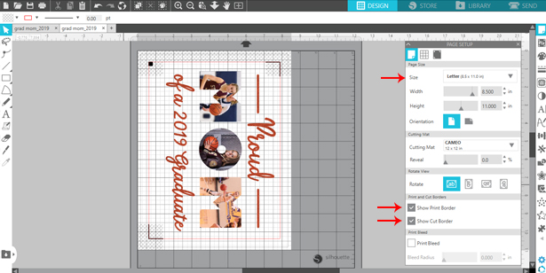 Adjust page size and bleed lines in Silhouette Studio