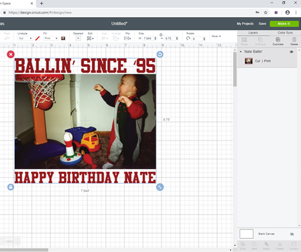 Re-size image in Cricut Design Space